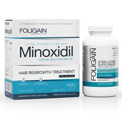 FOLIGAIN MINOXIDIL 5% HAIR REGROWTH TREATMENT For Men Gentle Formula (Low Alcohol) (6 fl oz) 180ml 3 Month Supply + FOLIGAIN STIMULATING HAIR REGROWTH SUPPLEMENT 120 Caplets VALUE PACK